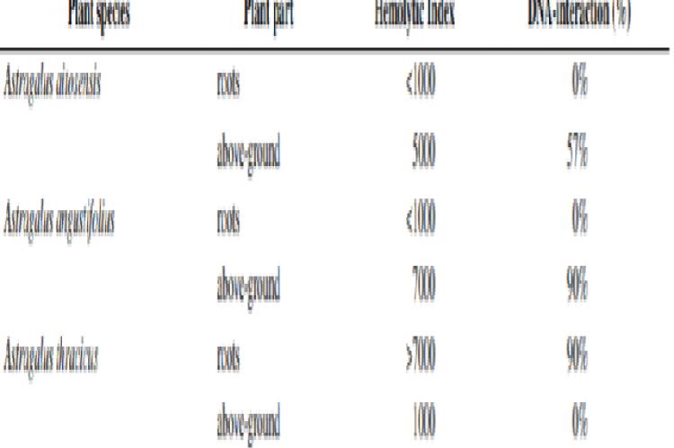 Correlation in DNA-interaction and hemolytic activity