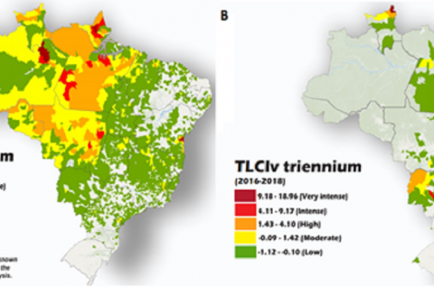 (A) Incidence of Cutaneous and mucosal Leishmaniasis (2016-2018) in Brazil; (B) Incidence of visceral Leishmaniasis (2016-2018) in Brazil